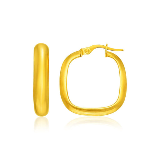 14K Yellow Gold Hoop Earrings With A Square Style-Jewelry-EpicWorldStore.com-EpicWorldStore.com