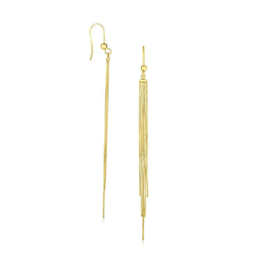 14K Yellow Gold Multiple Asymmetrical Chain Drop Earrings-Jewelry-EpicWorldStore.com-EpicWorldStore.com