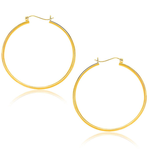 14K Yellow Gold Polished Hoop Earrings (40Mm)-Jewelry-EpicWorldStore.com-EpicWorldStore.com