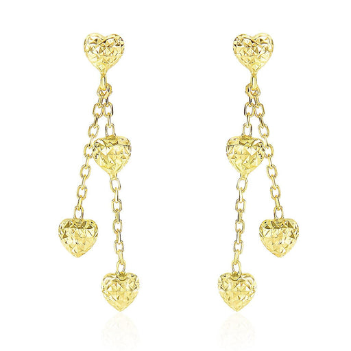 14K Yellow Gold Puffed Heart Diamond Cut Chain Dangling Earrings-Jewelry-EpicWorldStore.com-EpicWorldStore.com
