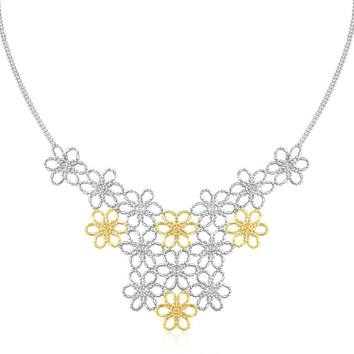 "14K Yellow Gold & Sterling Silver Flower Cluster Bead Necklace-Jewelry-EpicWorldStore.com-18""-EpicWorldStore.com"