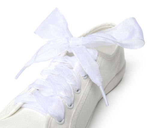 1Pair 110Cm Shoestrings Women Shoelaces Flat Silk Satin Ribbon Shoe Laces Sneakers Sport-Shoe Accessories-Lavender Store-White-EpicWorldStore.com