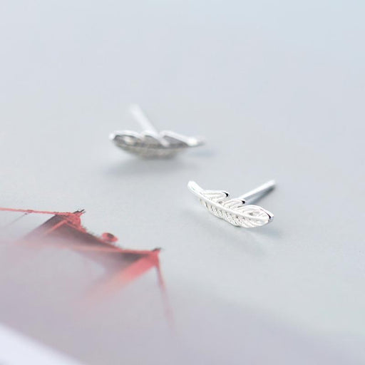 1Pair Real. 925 Sterling Silver Angel Wings Bird Feather Stud Earrings For Women Girls-Fine Jewelry-Smile Morning's store-EpicWorldStore.com
