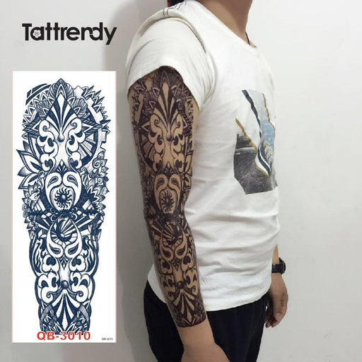 1Pc Full Arm Tattoo Stickers Large Flower Shoulder Fake Tattoos Sleeve For Man Body Paint Death-Tattoo & Body Art-Tattrendy Official Store-QB 3001-EpicWorldStore.com