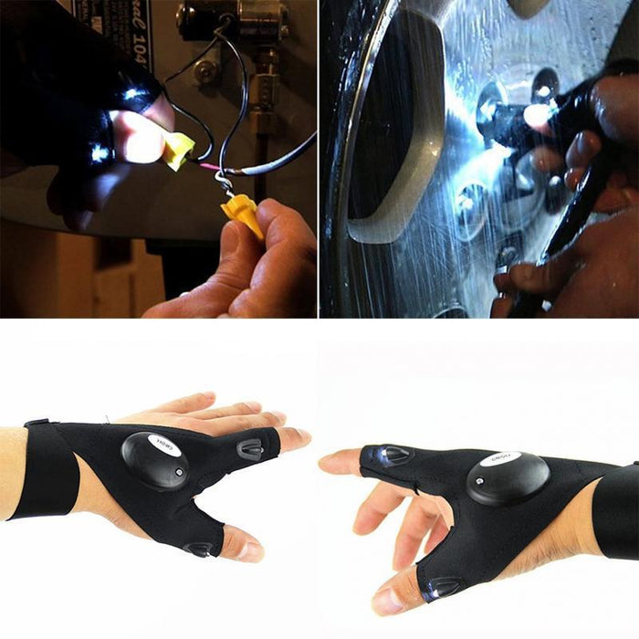 Magic Outdoor Glove with LED Flashlight Use for Fishing Camping Hiking Tool 1PC