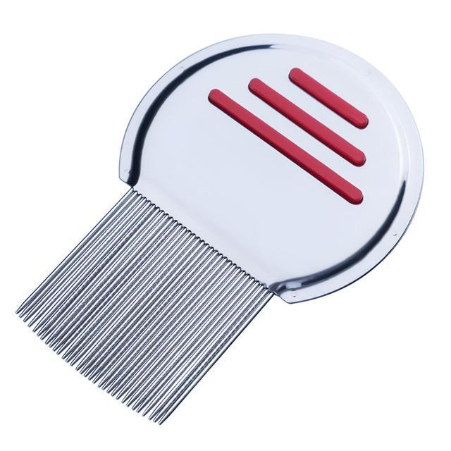 1Pc Stainless Steel Terminator Lice Comb Nit Free Kids Hair Rid Headlice Super Density Teeth-Hair Care & Styling-001 Beautiful Woman Store-red-EpicWorldStore.com