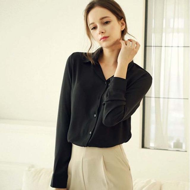 1Pc Women Chiffon Blouse Long Sleeve Shirt Women Tops Office Lady Blusas Femininas Camisas Mujer-Blouses & Shirts-Luzuzi Store-Black-S-EpicWorldStore.com