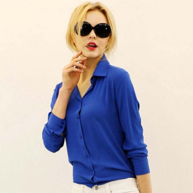 1Pc Women Chiffon Blouse Long Sleeve Shirt Women Tops Office Lady Blusas Femininas Camisas Mujer-Blouses & Shirts-Luzuzi Store-Blue-S-EpicWorldStore.com