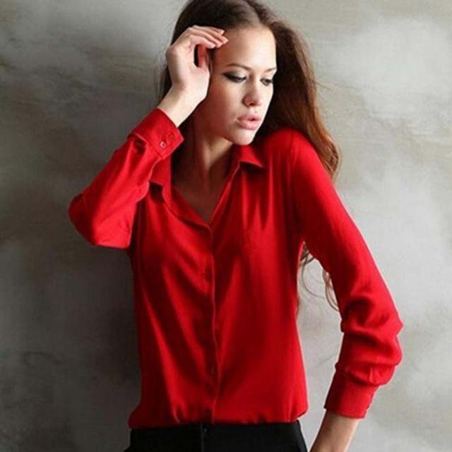 1Pc Women Chiffon Blouse Long Sleeve Shirt Women Tops Office Lady Blusas Femininas Camisas Mujer-Blouses & Shirts-Luzuzi Store-Red-S-EpicWorldStore.com