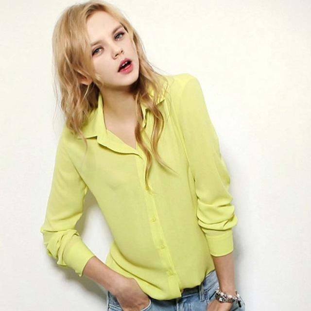 1Pc Women Chiffon Blouse Long Sleeve Shirt Women Tops Office Lady Blusas Femininas Camisas Mujer-Blouses & Shirts-Luzuzi Store-Yellow-S-EpicWorldStore.com