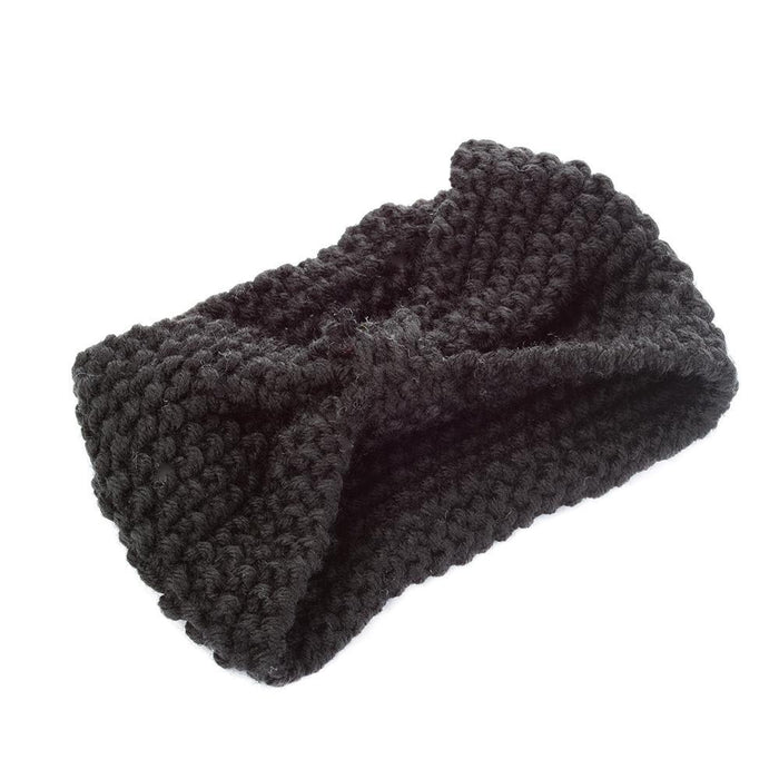 1Pc Women Lady Crochet Bow Knot Turban Knitted Head Wrap Hairband Winter Ear Warmer Headband Hair-Accessories-Tansy Store-Black-EpicWorldStore.com