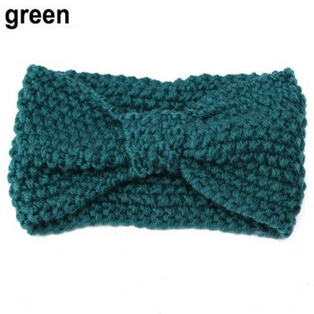 1Pc Women Lady Crochet Bow Knot Turban Knitted Head Wrap Hairband Winter Ear Warmer Headband Hair-Accessories-Tansy Store-Green-EpicWorldStore.com
