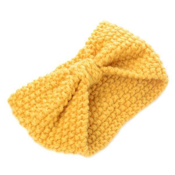 1Pc Women Lady Crochet Bow Knot Turban Knitted Head Wrap Hairband Winter Ear Warmer Headband Hair-Accessories-Tansy Store-Yellow-EpicWorldStore.com