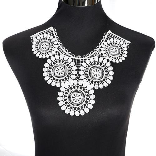 Off-white Fabric Dress Applique Necklace Collar Venise Lace Craft Sewing Craft