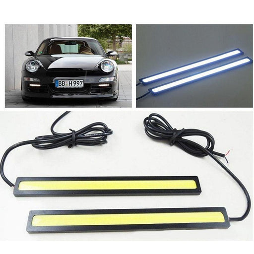 1Pic 17Cm Cob Led Drl Driving Daytime Running Lights Strip 12V Cob Led Drl Bar Aluminum Stripes-Car Lights-Pricekiller Store-Crystal Blue-EpicWorldStore.com