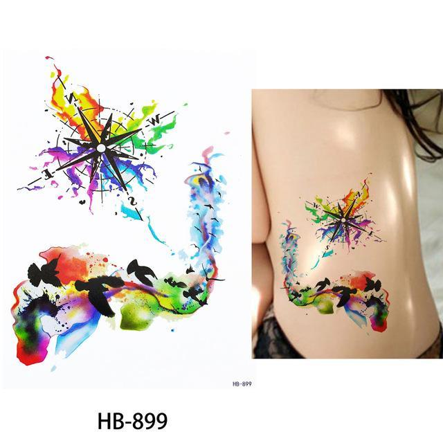 3992ca661 1X Diy Body Art Temporary Tattoo Colorful Animals Watercolor Painting  Drawing Horse Butterfly-Tattoo &