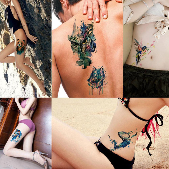 7cb537608 1X Diy Body Art Temporary Tattoo Colorful Animals Watercolor Painting  Drawing Horse Butterfly-Tattoo &