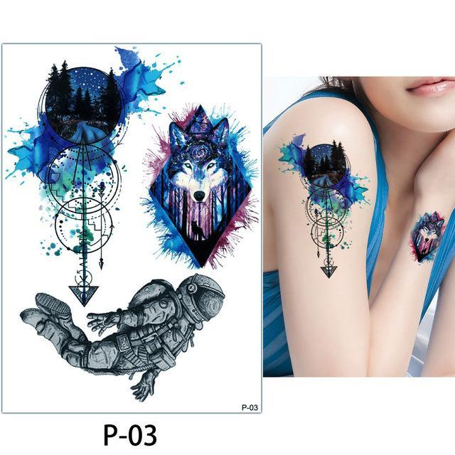 3b39f334eb4f5 1X Diy Body Art Temporary Tattoo Colorful Animals Watercolor Painting  Drawing Horse Butterfly-Tattoo &