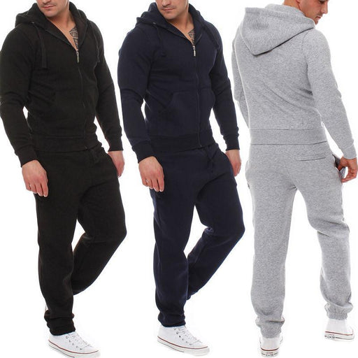 2 Pcs Mens Tracksuit Hooded Sweat Suit Clothes Cotton V-Neck Zipper Coat+Pants Black Grey-Men's Sets-AHTECH Store-Black-S-EpicWorldStore.com