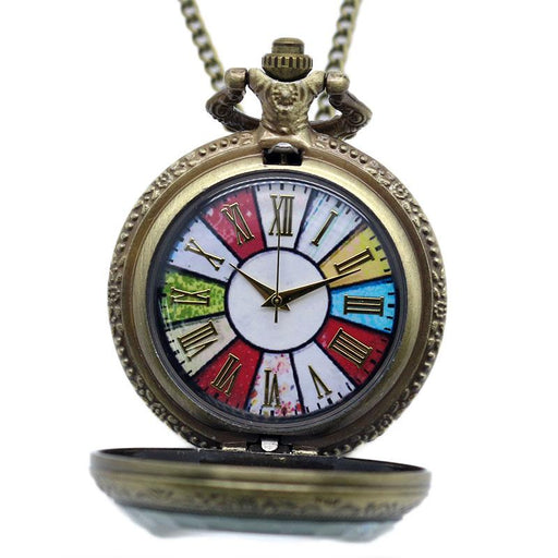 2014 New Bronze Colorful Dial Rome Number Quartz Pocket Watch Necklace Pendant P193-Pocket & Fob Watches-Guangzhou Bingo Trading Co., Ltd.-EpicWorldStore.com