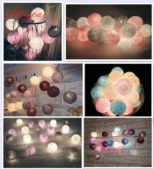 20Pcs/Sets Thai Style Cotton Ball String Lights Fairy ,Wedding Xmas, Christmas Patio Decor 110-Novelty Lighting-Angcai Decor-lights Store-Pure white-EpicWorldStore.com