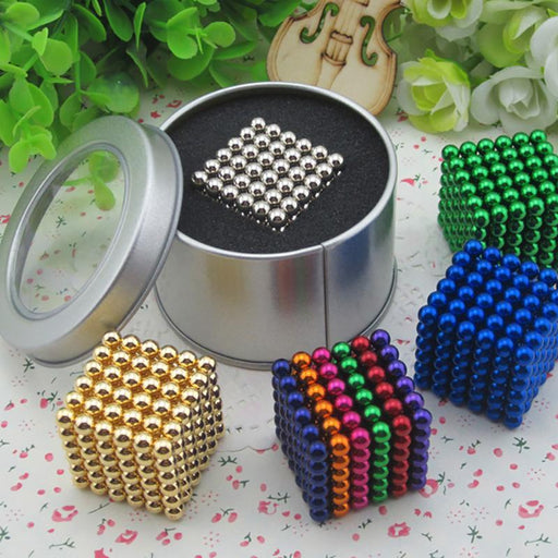 216 Pcs/Package 5Mm Magic Game 16 Kinds Diy Cubes Balls Puzzle Magnets Board Game With Metal Box-Entertainment-King Magic Stars Store-Orange-EpicWorldStore.com