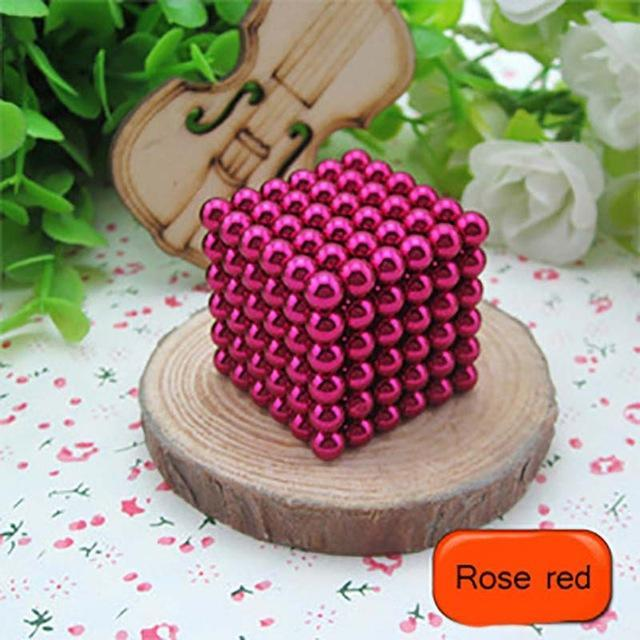 216 Pcs/Package 5Mm Magic Game 16 Kinds Diy Cubes Balls Puzzle Magnets Board Game With Metal Box-Entertainment-King Magic Stars Store-Rose red-EpicWorldStore.com