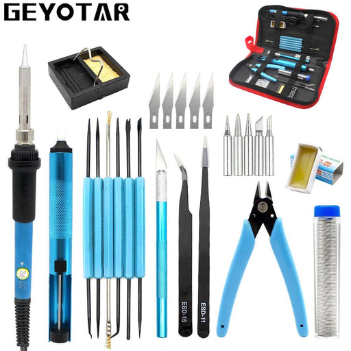 220V 60W Eu Plug Adjustable Temperature Electric Soldering Iron Kit Desoldering Pump Tin Wire Pliers-GEYOTAR Official Store-EpicWorldStore.com