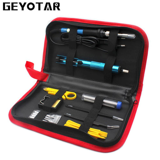 220V 60W Eu Plug Electric Soldering Iron Set Adjustable Temperature Welding Repair Tool Kit With-GEYOTAR Official Store-Red-EpicWorldStore.com