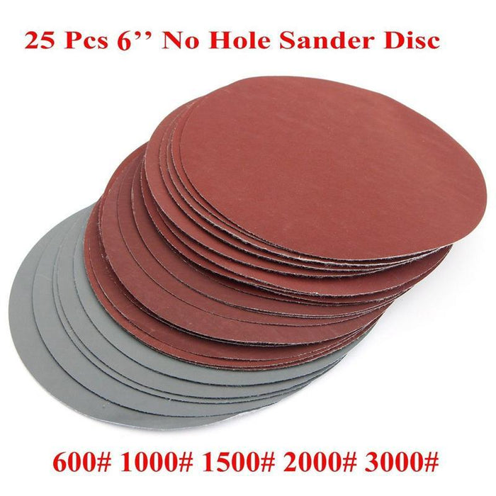 "25Pcs 6"" Round Sanding Disc Polishing Pad Sander Paper Set 600-3000Grit Sanding Paper For Abrasive-Abrasive Tools-Daily Supplies Shopping Paradise Store-EpicWorldStore.com"