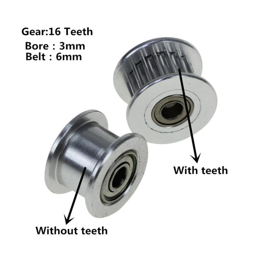 2Gt 16 Teeth Synchronous Wheel Pulley With Teeth/Without Teeth Driven Perlin Gear Bore 3Mm For 3D-Office Electronics-HESAI 3D Center Store-With teeth-EpicWorldStore.com