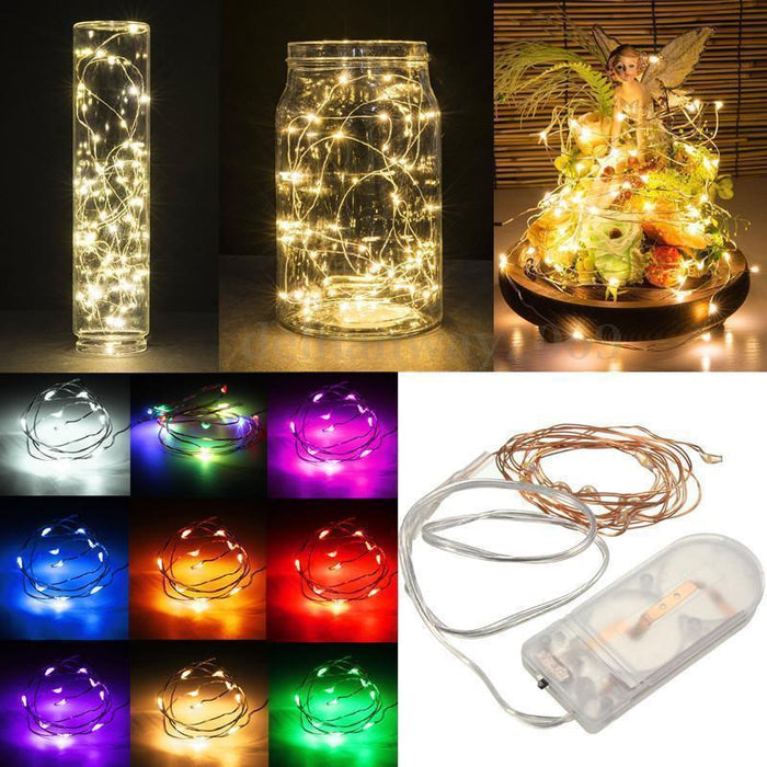 2m 20 led battery operated led copper wire string lights for xmas garland party wedding decoration