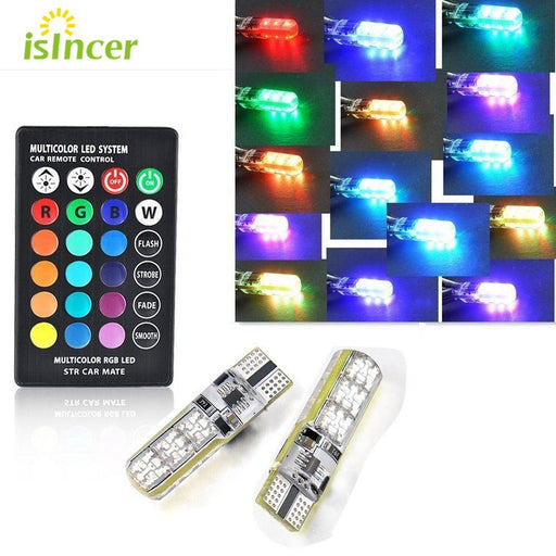2Pcs Universal Car Rgb Led 12V T10 Led Rgb 5050 6Smd Remote Controller Reading Wedge Light Signal-Car Lights-iSincer Alwaysbest Store-EpicWorldStore.com