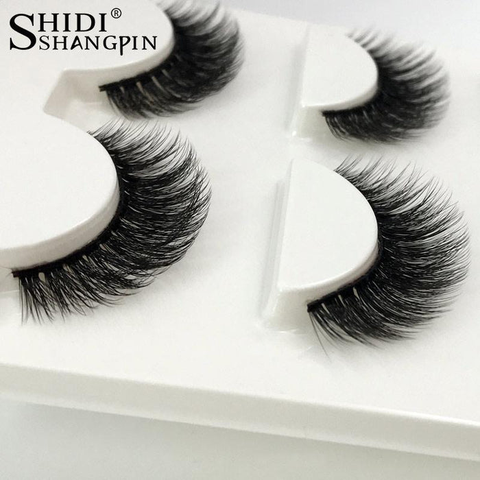 3 Pairs Natural False Eyelashes Thick Makeup Real 3d Mink Lashes