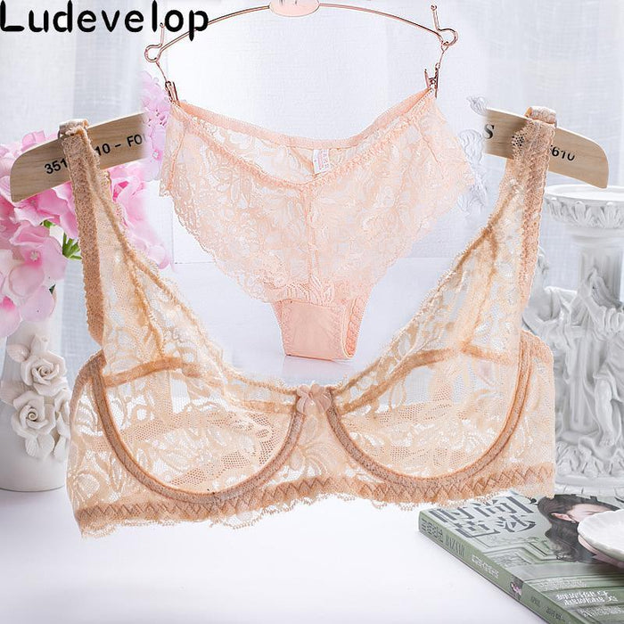 32-40 Abc Cup Intimates Hollow Out Lace Bra And Briefs France Stylish Women Ultra-Thin Underwear Bra-Bra & Brief Sets-artdewred Official Store-Beige-70A or 32A-EpicWorldStore.com