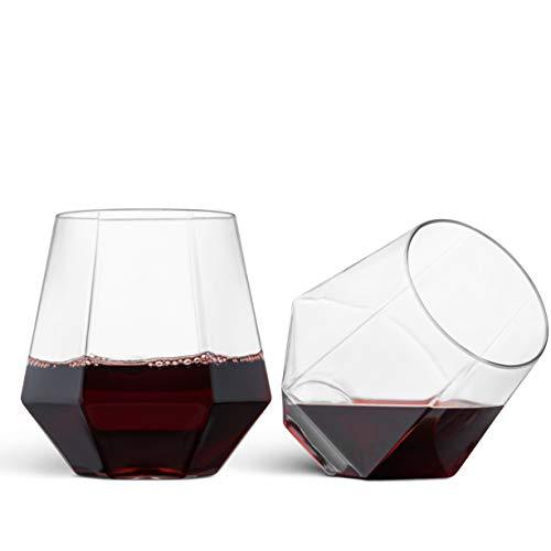 32 Pack Diamond Shaped Plastic Stemless Wine Glasses Disposable 12 Oz-Home Essentials-Amazon-EpicWorldStore.com