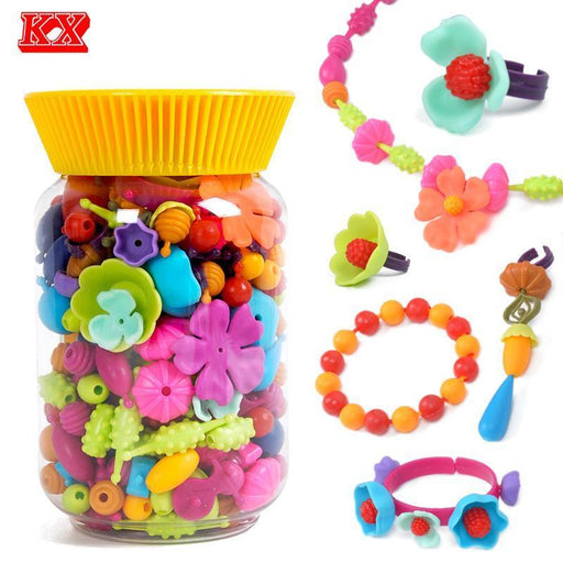 320Pcs Diy Pop Beads Kids Making Kit Craft Gift For Girl Children Cordless Snap Together Toy Jewelry-Arts & Crafts, DIY toys-Eisen Toy Store-EpicWorldStore.com