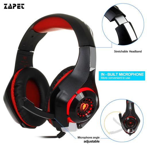 3.5Mm Gaming Headphone Earphone Gaming Headset Headphone Xbox One Headset With Microphone For Pc Ps4-ZAPET STORE-red black-EpicWorldStore.com