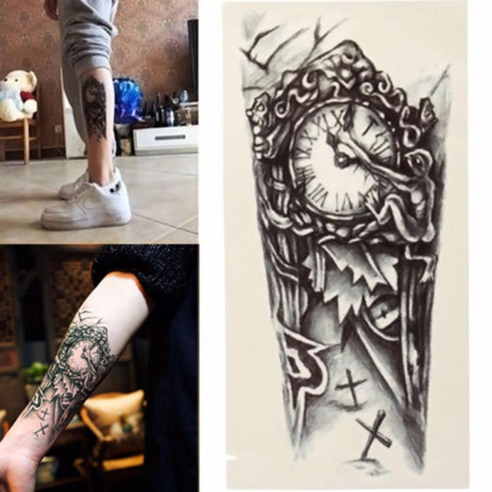 ab6e4eba2a28c 3D Large Temporary Tattoo Men Waterproof Tattoo Sleeves For Men Conversion  Of Tattoos Transferable-Tattoo