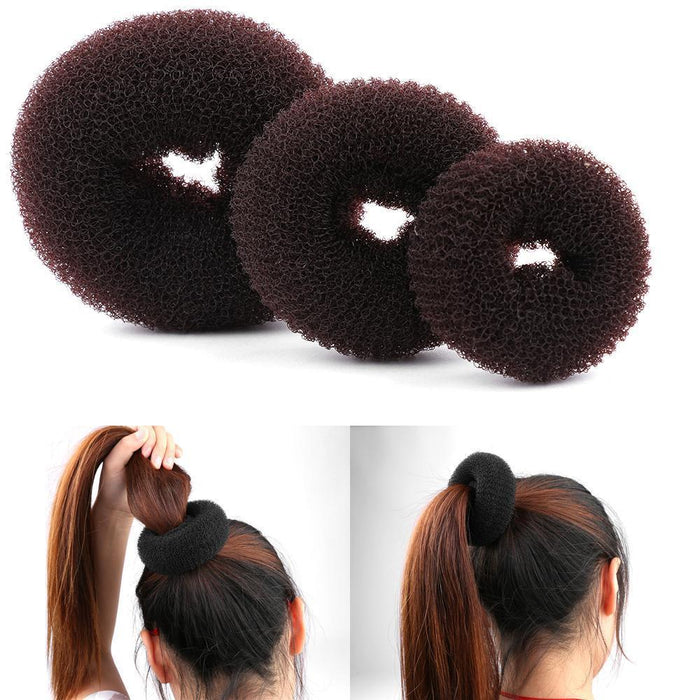3Pcs Size S/M/L Women Magic Shaper Donut Hair Ring Bun Haar Accessories Lady Styling Tool-Accessories-gootrades Official Store-Black 6cm-EpicWorldStore.com