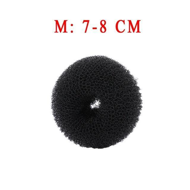3Pcs Size S/M/L Women Magic Shaper Donut Hair Ring Bun Haar Accessories Lady Styling Tool-Accessories-gootrades Official Store-Black 8cm-EpicWorldStore.com
