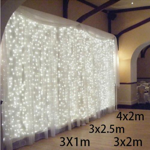 3X1/3X2/4X2M Led Icicle Led Curtain Fairy String Light Fairy Light 300 Led Christmas Light For-Holiday Lighting-Kongdii Official Store-x-Warm white-US plug 110V-EpicWorldStore.com