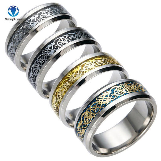 4 Colors Vintage Gold Dragon 316L Stainless Steel Ring Mens Jewelry For Men Lord Wedding Band Male-Rings-MINGXUAN goodbeads Store-5-Black-EpicWorldStore.com