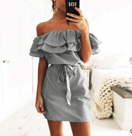 4 Colour Summer Womens New Striped Dresses Stylish Ruffle Dress Casual Style-Dresses-FEICHUAN Store-black-S-EpicWorldStore.com