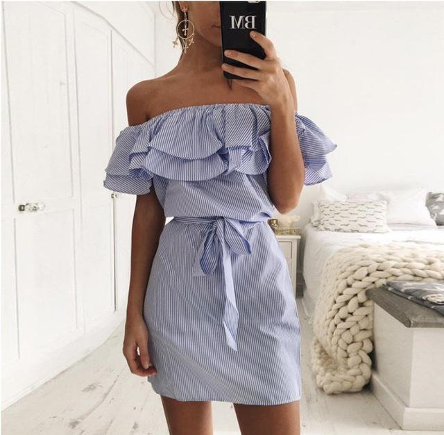 4 Colour Summer Womens New Striped Dresses Stylish Ruffle Dress Casual Style-Dresses-FEICHUAN Store-BLUE-S-EpicWorldStore.com