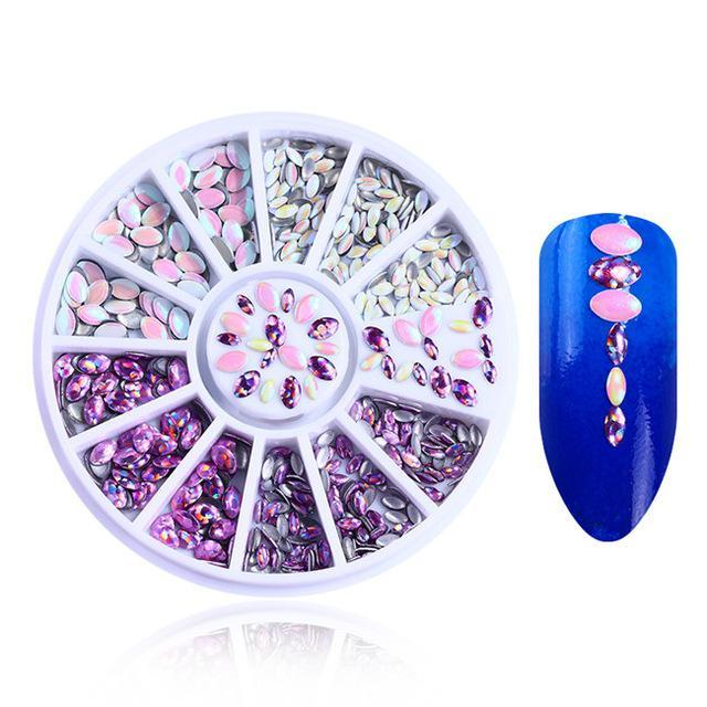 400Pcs 1.2Mm/2Mm/3Mm/4Mm Mixed Silver Round Rhinestones For Acrylic Uv Gel Shinning Nail Art-Nails & Tools-BeautyLadyNailArt Store-Purple Holo Studs-EpicWorldStore.com