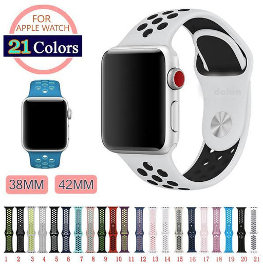 42Mm 38Mm S L Size Silicone Sports Colorful Wrist Band For Apple Watch Strap For Iwatch Series 3&2&1-Watch Accessories-xianwang Store-black silver-S M 38mm-EpicWorldStore.com