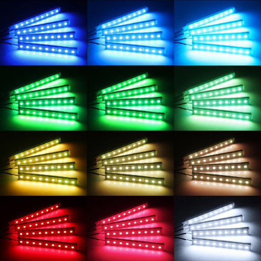 4Pcs Car Rgb Led Strip Light Led Strip Lights 16 Colors Car Styling Decorative Atmosphere Lamps-Car Lights-Green Home Mall-EpicWorldStore.com