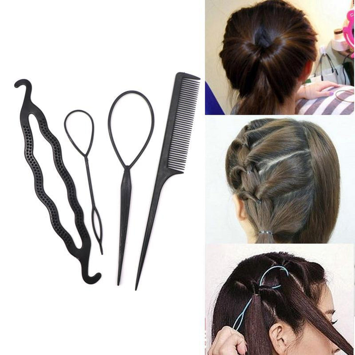4Pcs/Set Black Plastic Diy Styling Tools Pull Hair Clips For Women Hairpins Comb Hair Bun Maker-Accessories-Arherigele Store-EpicWorldStore.com