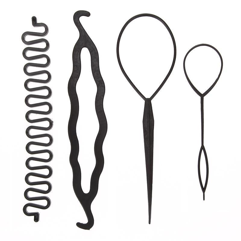 4Pcs/Set Magic Hair Braiding Twist Curler Styling Set Hairpin Holding Hair Braiders Pull Hair Needle-Hair Care & Styling-my-yeah haircare Store-EpicWorldStore.com
